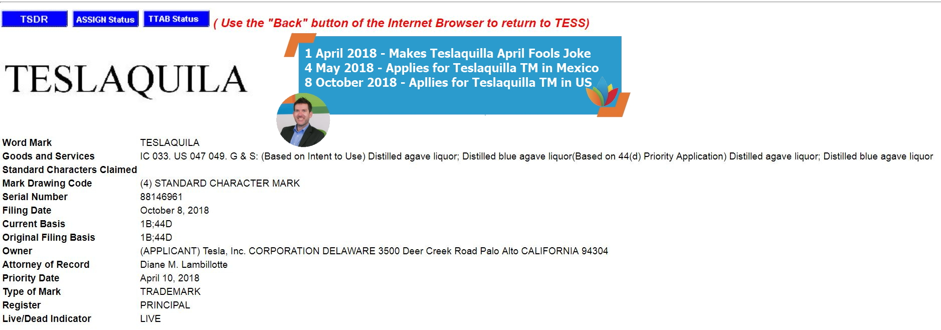 Teslaquila Trademark Application