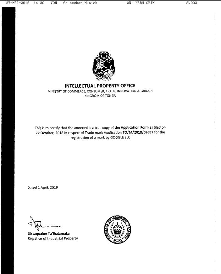 Google Clockwork Trademark - Tongan TM Application Confirmation